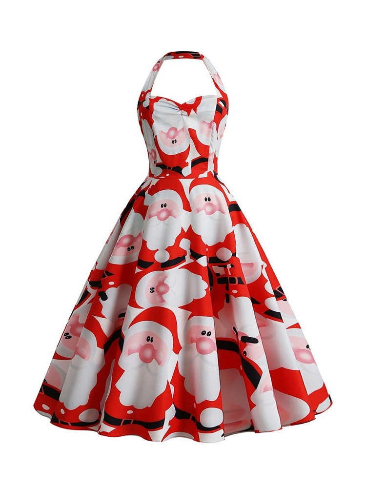 Ericdress Christmas Print Sleeveless Mid-Calf Pullover Halter Dress