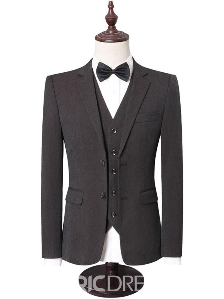 Ericdress Pocket Plain Blazer Men's Dress Suit