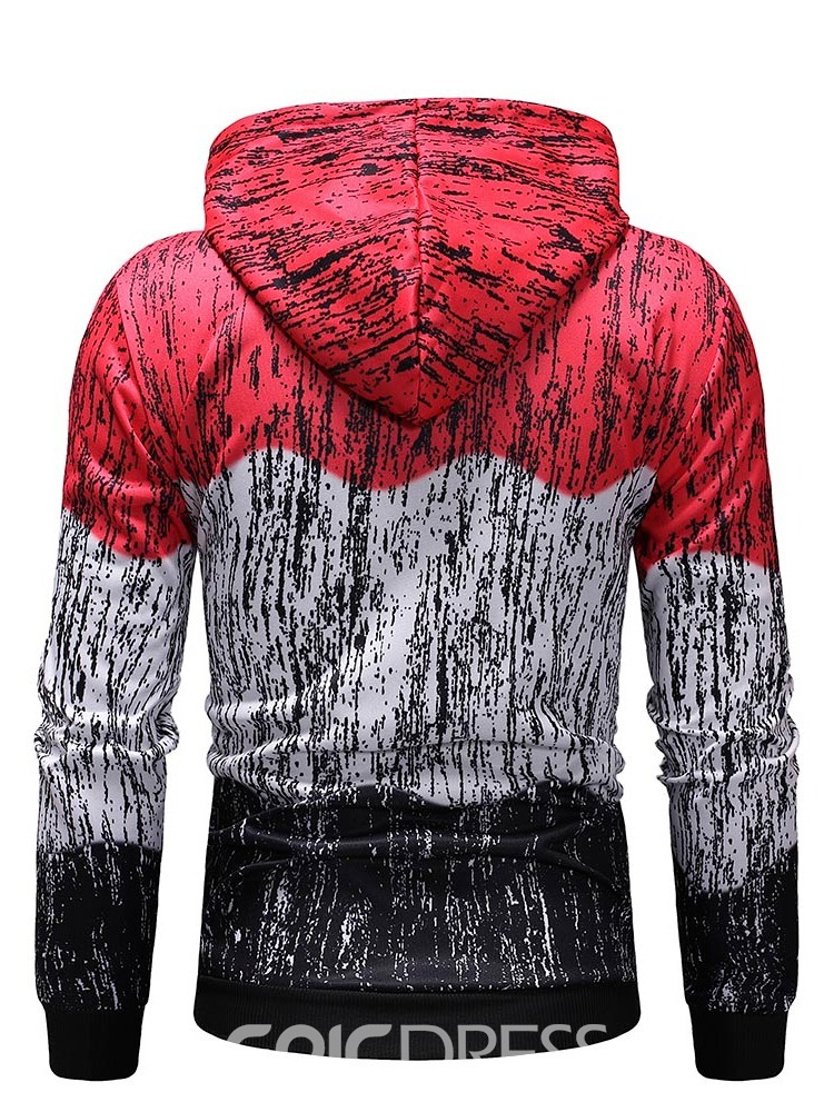Ericdress Color Block Fleece Pullover Men's Casual Hoodies