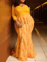 Ericdress Plus Size Feather Floor-Length V-Neck Mermaid Pullover Dress фото