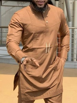Ericdress African Fashion Dashiki Round Neck Casual Plain Loose Men's Shirt