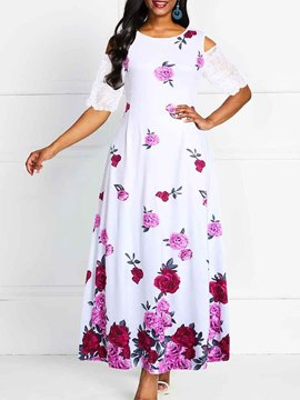 Ericdress Cold Shoulder Ankle-Length Half Sleeve Patchwork Floral Expansion Dress