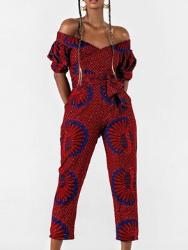 Ericdress Off Shoulder Color Block Mid-Calf High Waist Slim Jumpsuit