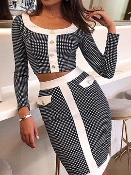 ericdress western t-shirt color block bodycon ensembles de deux pièces