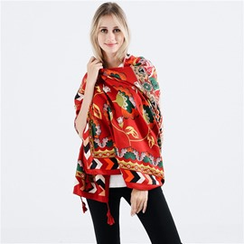 Ericdress Shawl Tassel Floral Scarves