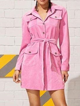 Ericdress Lapel Pocket Above Knee Date Night/Going Out Regular Dress