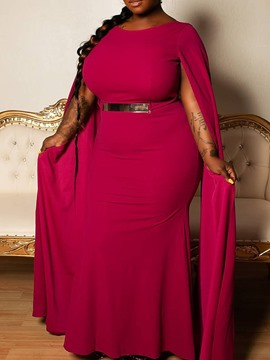 Ericdress Plus Size Round Neck Floor-Length Sleeveless Standard-Waist Plain Dress