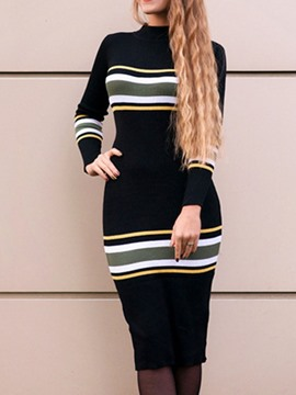 Ericdress Stand Collar Print Long Sleeve Fall Regular Dress