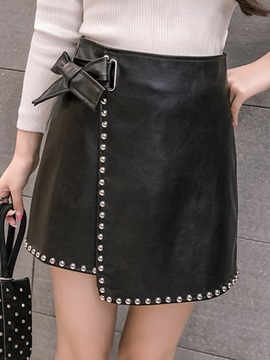Ericdress Bead Mini Plain Little Black Skirt