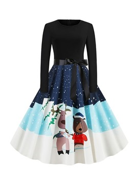 Ericdress Round Neck Patchwork Mid-Calf Sweet Regular Dress