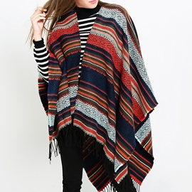 Ericdress Shawl Tassel Stripe Scarves