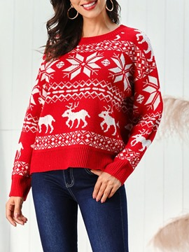 Ericdress Regular Regular Mid-Length Christmas Women's Sweater