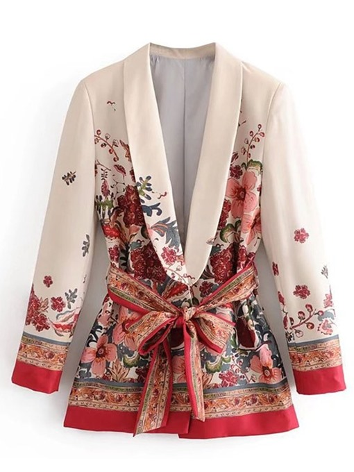 Ericdress Plant Lace-Up Regular Mid-Length Casual Women's Blazer