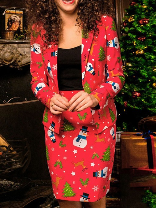 Ericdress Christmas Floral Print Notched Lapel One Button Two Piece Sets