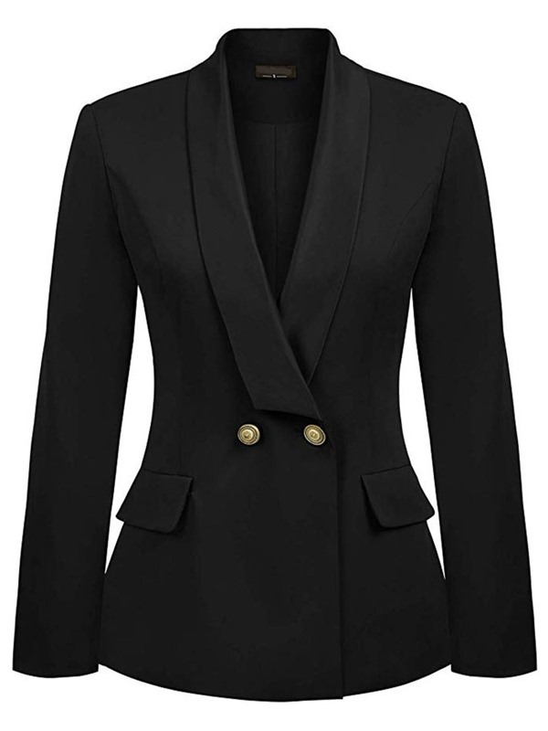 Ericdress Double-Breasted Notched Lapel Regular Womens Casual Blazer
