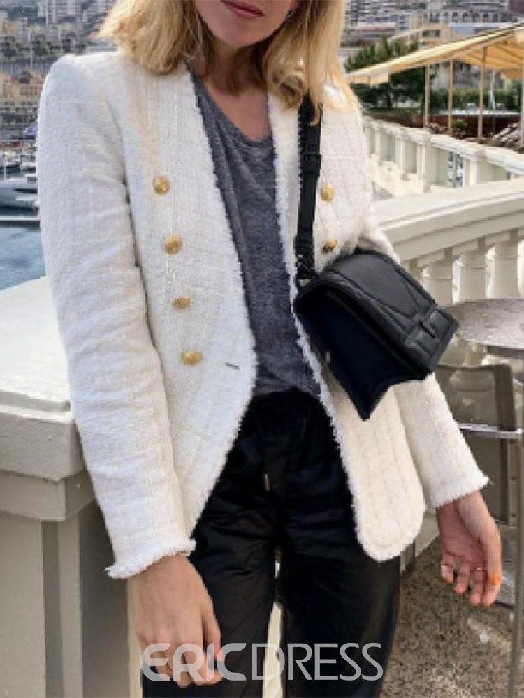Ericdress Plain Double-Breasted Mid-Length Casual Women's Blazer
