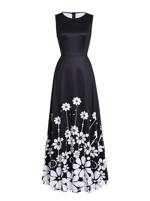 Ericdress Ankle-Length Print Pocket Sleeveless Expansion Floral Dress