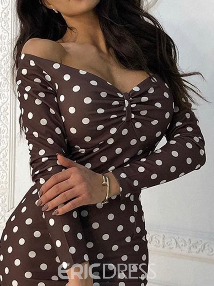 Ericdress V-Neck Print Mid-Calf Polka Dots Date Night/Going Out Dress