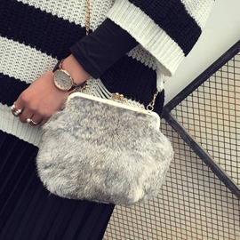 Ericdress Fux Fur Plain Chain Rectangle Crossbody Bags