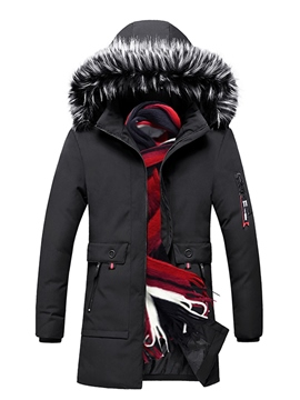 Ericdress Zipper Color Block Mid-Length Casual Men's Down Jacket