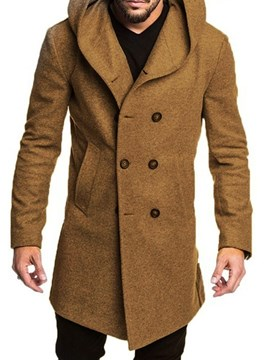 Ericdress Button Hooded Plain Double-Breasted Men's Coat