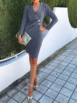 Ericdress Long Sleeve Notched Lapel Above Knee High Waist Wear to Work/Workwear Dress