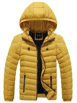 Ericdress Hooded Mid-Length Zipper Casual Men's Down Jacket