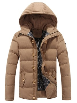 Ericdress Zipper Hooded Standard Casual Men's Down Jacket