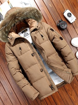 Ericdress Patchwork Hooded Standard Casual Men's Down Jacket