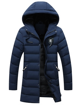 Ericdress Plain Hooded Zipper Casual Men's Down Jacket