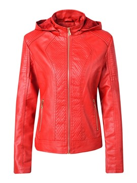 Ericdress Straight Zipper Women's PU Jacket