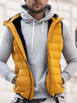 Ericdress Zipper Color Block Hooded Casual Men's Waistcoat
