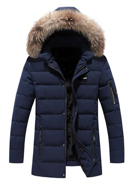 Ericdress Color Block Mid-Length Zipper Casual Men's Down Jacket