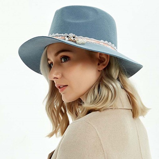 Ericdress Plain Wide Brim Fedora Hat