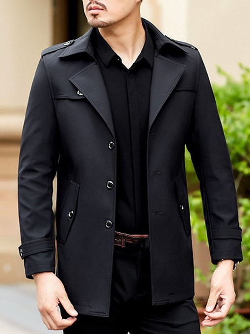 Ericdress Plain Mid-Length Button Men's Slim Trench Coat