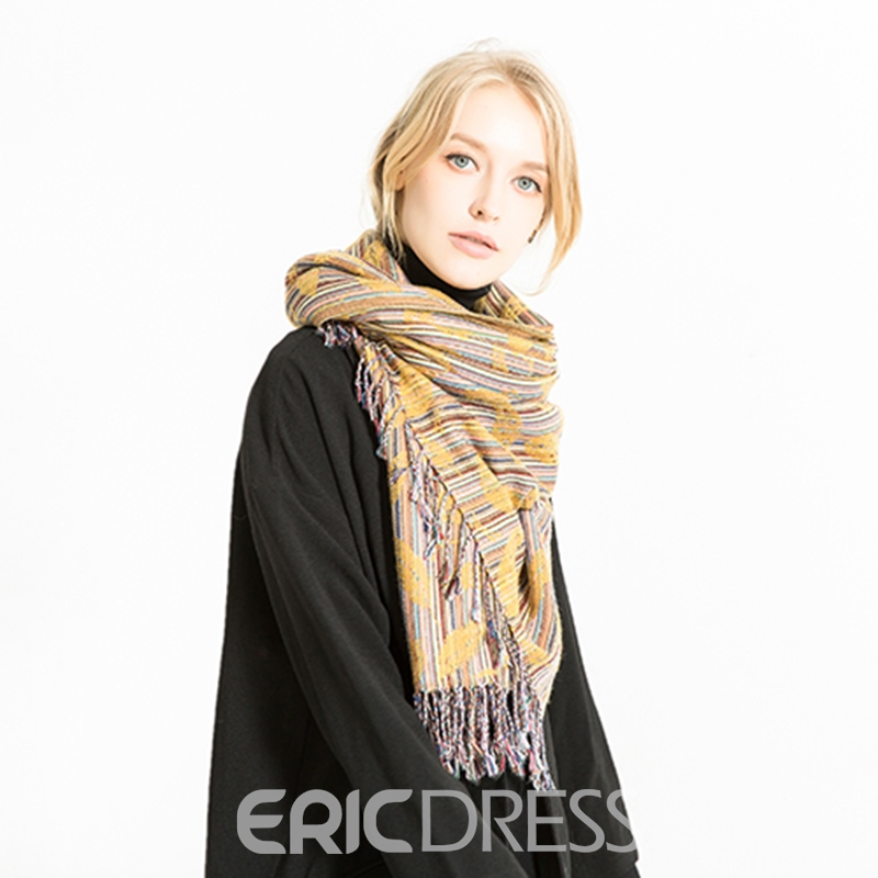 Ericdress Imitation Cashmere Rectangle Stripe Scarves