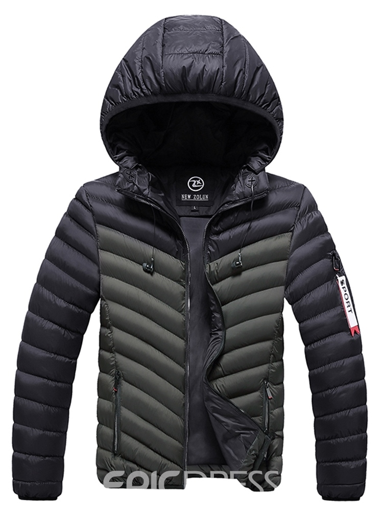 Ericdress Color Block Hooded Casual Men's Down Jacket