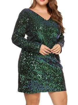 Ericdress Above Knee Sequins Long Sleeve Fall Plain Dress
