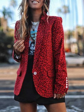 Ericdress Notched Lapel Leopard Mid-Length Regular Women's Casual Blazer