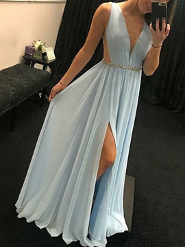 Ericdress Deep V-Neck A-Line Beading Prom Dress