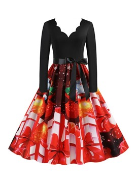 Ericdress Christmas Print V-Neck Long Sleeve Cartoon Fall Dress