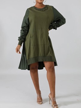Ericdress Knee-Length Pleated Long Sleeve Spring Regular Dress