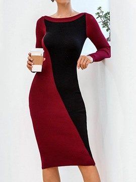 Ericdress Mid-Calf Off Shoulder Long Sleeve Date Night/Going Out Mid Waist Dress