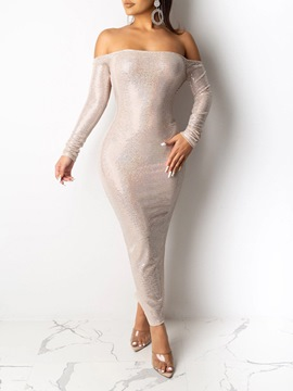 Ericdress Off Shoulder Sequins Long Sleeve Plain Pullover Dress