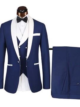 Ericdress Color Block Blazer One Button Men's Dress Suit