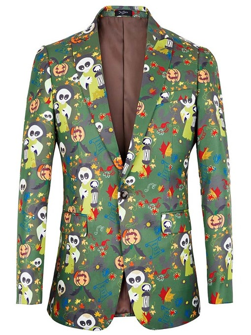 Ericdress Cartoon Print Slim Christmas Men's Leisure Blazers
