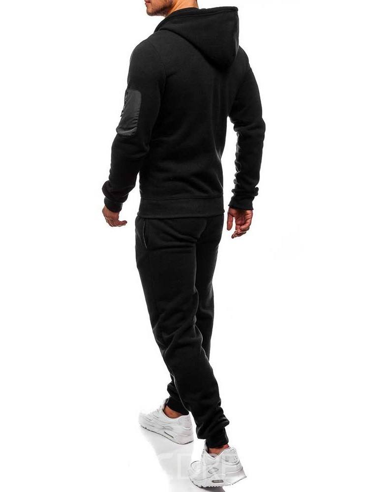 Ericdress Casual Hoodie Plain Men's Outfit