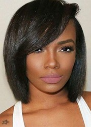 Ericdress Short Bob Hairstyles Side Part Wigs With Bangs Straight Synthetic Hair Capless Wigs For African American 12Inch фото