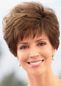 Ericdress Women's Pixie Cut Wigs Short Stylish Fluffy Layer Wig Straight Synthetic Hair Capless Wigs with Bangs 8Inch