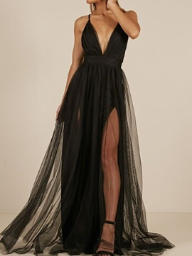 Ericdress A-Line Floor-Length Backless Black Evening Dress 2020